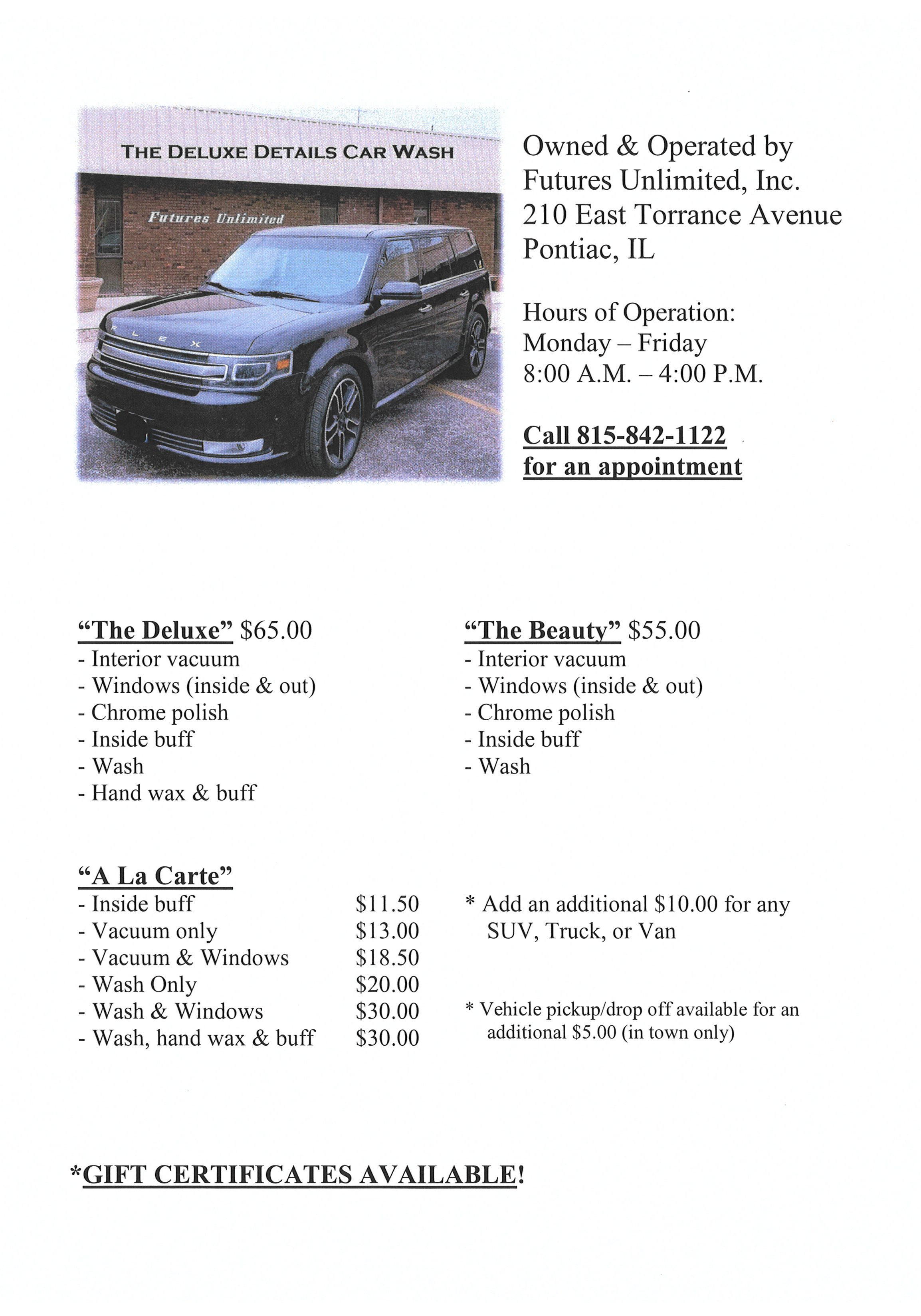 Deluxe Details Car Detailing Flyer updated 2019